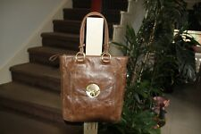 MIMCO AUTHENTIC TURNLOCK SHOPPER TOTE BAG BROWN LEATHER