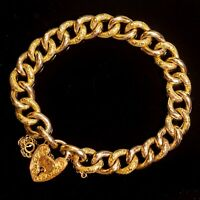 Antique Victorian Curb Bracelet 9ct Rose Gold Ornate Heart Padlock c.1900