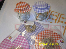 JAM covers X 20 Large LILAC gingham PACK includes sticky jar labels & bands x 20