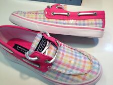 New Girls Sperry Bahama Pink Plaid Youth Size - 2.5