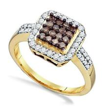 Chocolate Brown & White Diamond Ring 10K Yellow Gold Square Cluster Band .55ct