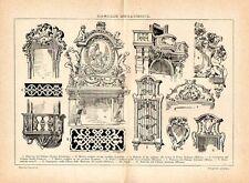 Stampa antica ARCHITETTURA in STILE BAROCCO porta finestra tavolo 1910 Old print
