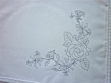 Tray Cloth to embroider Rose & Honeysuckle Flowers 100% Cotton lace edge CSOO75