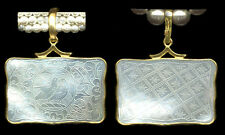 14k Slider Bale Squ. Pendant Love Birds Antique Chinese Mother Pearl Gaming Chip
