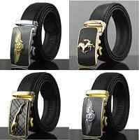 Limited Edition Mens Black Leather Belt with Bentley Ferrari Gold Silver Buckle