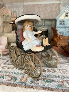 Vintage Artisan Miniature Dollhouse Porcelain Victorian Girl in Pram Signed 1989