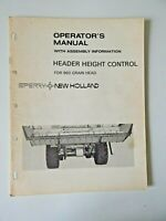 New Holland Header Height Control Operator's Manual For 960 Grain Head