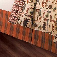 ORANGE BROWN PLAID Queen BED SKIRT : STRIPED LODGE CABIN ADIRONDACK DUST RUFFLE