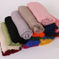Women Cotton Linen Crinkle Scarves Muslim Long Scarf Wrap Shawl Soft Stole Hijab