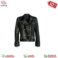 Women's Moto Style Black Genuine Leather Motorcycle Slim Fit Biker Jacket New