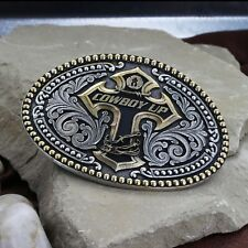 Montana Silversmiths Attitude Cowboy Up Barbwire Wrapped Cross 2Tone Belt Buckle
