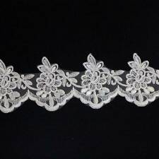 1 METRE WHITE & SILVER LACE TRIM 90mm SEW ON WEDDING DRESS VEIL TRIMMING HL1143