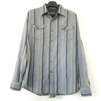 Blue by Pronto Uomo Mens 2XL Pearl Snap Shirt XXL Gray Blue Striped Long Sleeve