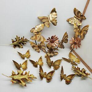 Vintage Metal Hanging Butterflies Gold Color Wall Art 70s set of 12 Lot Set (h)