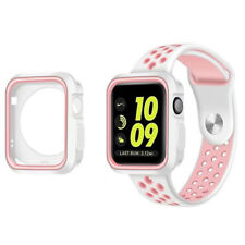 Replacement Band Strap + Case For Nike+ Apple iWatch Watch 123 White Pink 38mm