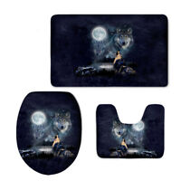 Wolf Bathroom Mat Set Toilet Seat Lid Cover Skid Proof Decoration Contour Rug