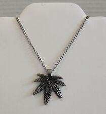 """Marijuana Leaf Pendant Chain Necklace Weed Pot Maryjane Cannibus 24"""""""