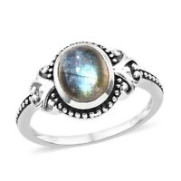 925 Sterling Silver Oval Labradorite Solitaire Ring Jewelry for Women Cttw 3.3