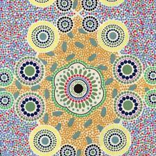 Meeting Places Cream Australian Aboriginal Quilt Fabric M & S TEXTILES