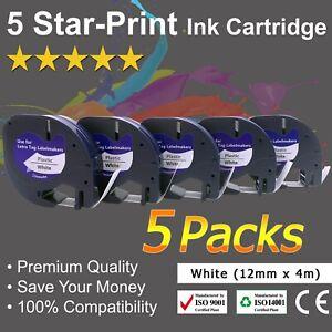 5PK 91331 Compatible DYMO LetraTag Tape LT-100T White Plastic Label Tape 1/2''
