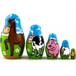 Matryoshkas Dolls Farm Animals Wooden Toy Figures 5 Pcs