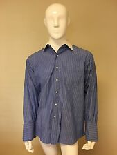 Brooks Brothers Blue White Collar long sleeve dress shirt 16 1/2 33 French Cuff