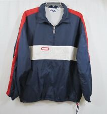 Vintage 90's FILA Windbreaker Pullover Jacket XL 1/4 Zip SPELLOUT Color Block