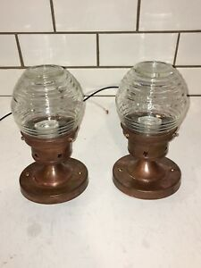 Wired Pair Copper Arts & Crafts Flush Mount Fixtures Original 1930's finish 20D