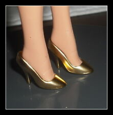 SHOES BARBIE DOLL 2006 HOLIDAY METALLIC GOLD PUMP HIGH HEELS CLOTHING ACCESSORY