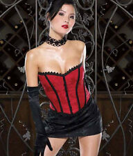 Sexy Lingerie Coquette Red Strapless Brocade Bustier Corset w Hook-and-Eye Back