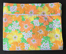Wabasso 70s Vintage Orange Yellow Flower Power Floral Queen Flat Bed Sheet