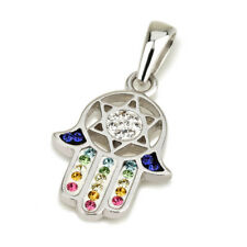 Hamsa Silver Pendant With Colorful Gemstones + 925 Sterling Silver Chain #27