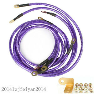 Auto Car Universal Earth Cable System Ground/Grounding Wire Kit 5 Point Purple