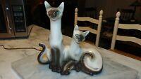 Vintage 1950s Siamese Cats TV Lamp Light Works Beautiful Rhinestone Eyes LaneCo.