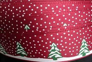 Grosgrain ribbon christmas print