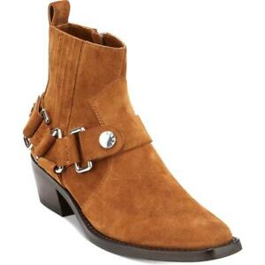 DKNY Womens Mina Booties Ankle Square Toe Cowboy, Western Boots Heels BHFO 4359