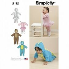 Babies' Knit and Fleece Rompers Onesies Costumes Simplicity Sewing Pattern 8181