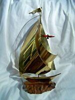 "Brass SAILBOAT faux Marble Base Nautical décor 3 sails flag seagull 14.5"" tall"