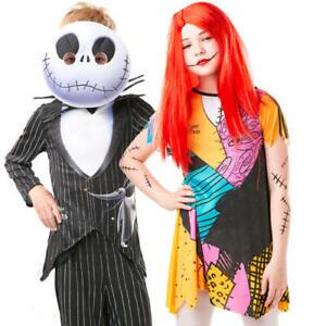Nightmare Before Christmas Kids Fancy Dress Jack Sally Childs Halloween Costumes