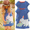 Kids Girl Short Sleeve Sundress Summer Holiday Tunic Swing Top Casual Mini Dress