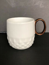Starbucks White Diamond Quilt Design Coffee Mug Gold Colored Handle 12 Oz Studs