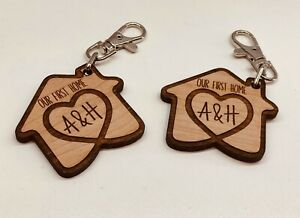 SET OF 2 x PERSONALISED CHERRY WOODEN KEYRINGS OUR FIRST HOME HOUSE WARMING GIFT