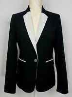 Mossimo Womens Black White Faux Pockets Long Sleeve Blazer Size XS