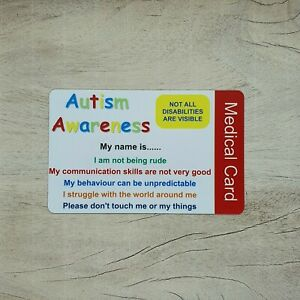 Autism Awareness Personalised Medical ID  Card Hidden Disability ICE Contacts