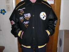 VINTAGE PITTSBURGH STEELERS  4X SUPERBOWL CHAMPION WOOL & LEATHER JACKET XXL