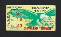 VINTAGE 1959 NFL CLEVELAND BROWNS @ PHILADELPHIA EAGLES FOOTBALL TICKET STUB