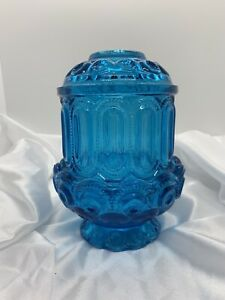 """MOON AND STARS LE SMITH BLUE 2PC GLASS FAIRY LAMP CANDLE HOLDER 7"""""""