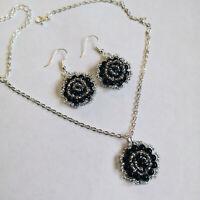 Beaded Rose Flower pendant Necklace Set Black glass bead earrings handcrafted