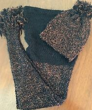 NWT, ANTHROPOLOGIE Tinselknit SET Scarf and Beanie Black Metallic Copper Sparkle