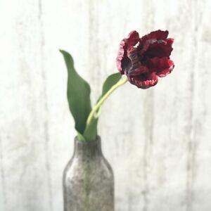 1 Burgundy Artificial Parrot Tulip, Realistic Faux Silk Flower, Green Stem Leaf